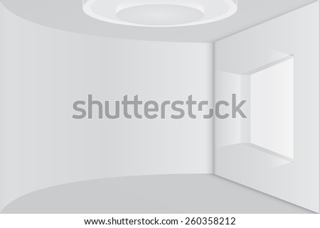 Empty room with rounded wall and window. Vector illustration. - stock vector