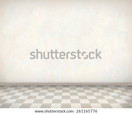 Empty room with white wall, tile floor. Classical vector interior - stock vector