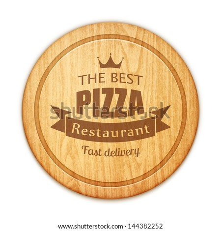 empty round cutting board with pizza restaurant label eps10 vector illustration - stock vector