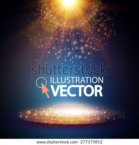 Empty scene & lights. Vector illustration - stock vector