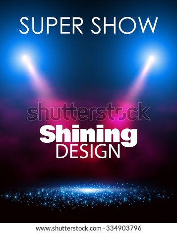 Empty Scene Poster Template with Shining Spotlights. Party, Concert, Match, Show, Sale & Win Background. Vector illustration - stock vector