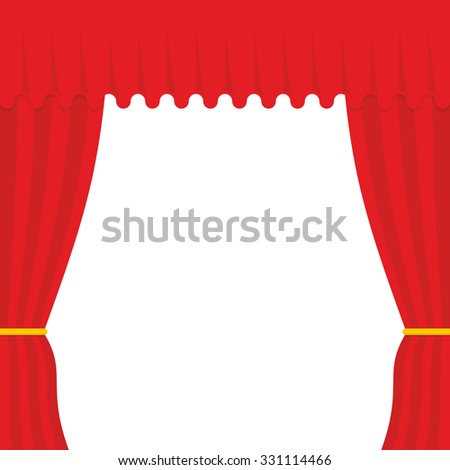 Empty scene. Red Curtain, outdoor. Theatre curtain - stock vector