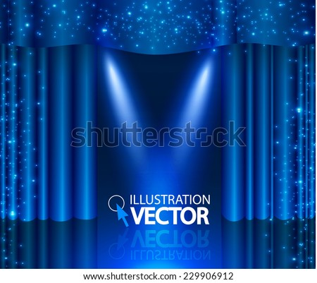 Empty scene with stage curtain & spotlight. Vector illustration