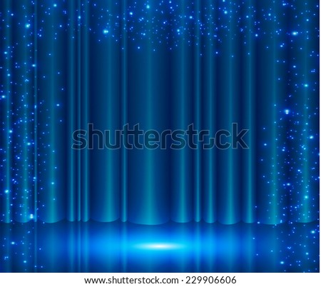 Blue curtain stage stock on transparent background red stage curtains