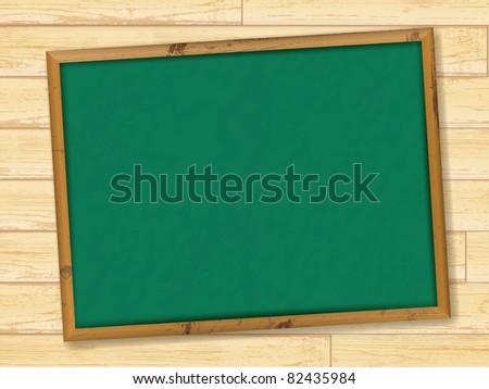 Empty school blackboard at wooden wall - stock vector