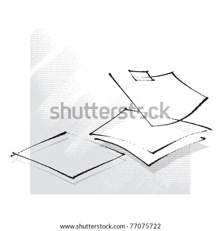empty sheets of paper, simple stylized line, freehand drawing vector - stock vector