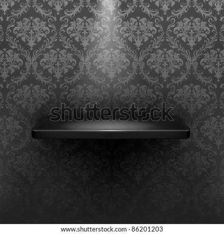 Empty shelf, black luxury - stock vector