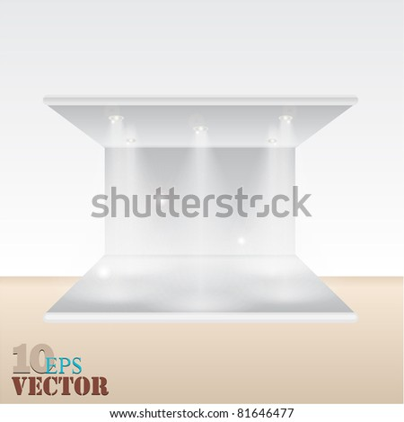 empty shelf for exhibit - stock vector