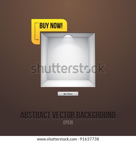 Empty Shelf For Exhibit In The Wall Brown With Label Buy Now! - stock vector