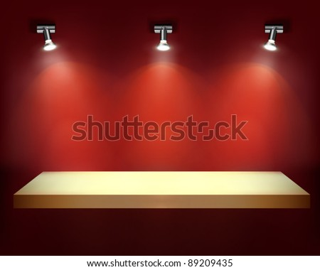 Empty shelf for exhibit. Vector illustration. - stock vector
