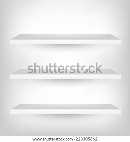 Empty Shelf For Exhibition, Vector Illustration - stock vector