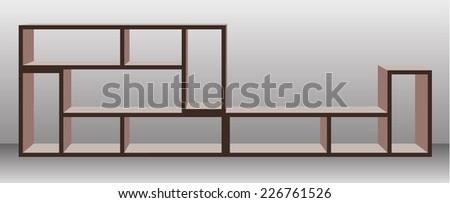 Empty shelf furniture for living room  - stock vector