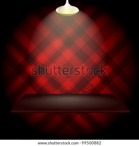 Empty shelf on red wall - stock vector