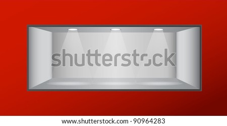 empty shelf with lights. vector - stock vector