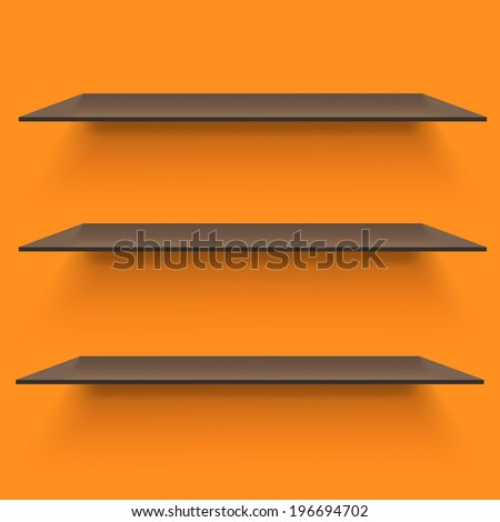Empty shelves on light orange background. Vector illustration - stock vector