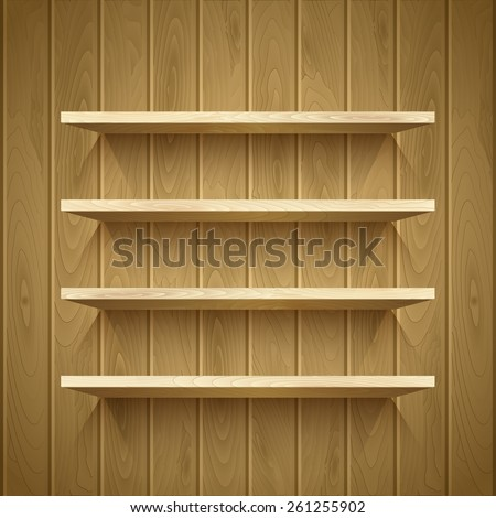 Empty shelves on the wooden wall,  vector illustration