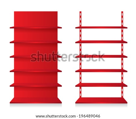 Empty shop shelves red - stock vector