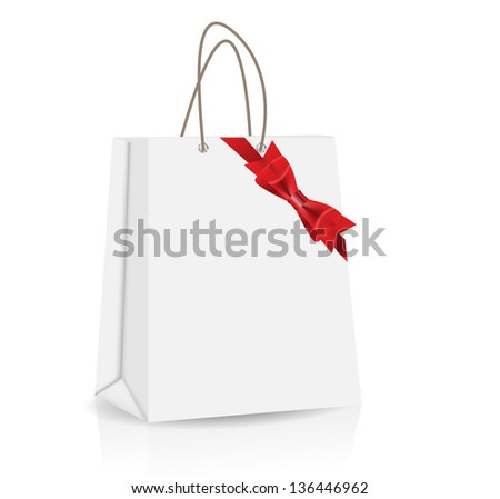 Empty Shopping Bag with bow and ribbon  for advertising and branding vector illustration