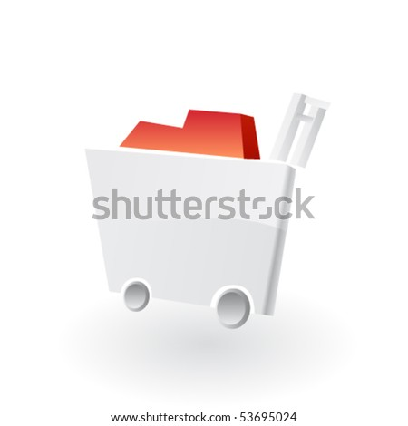 Empty shopping cart isolated on white background. Vector - stock vector