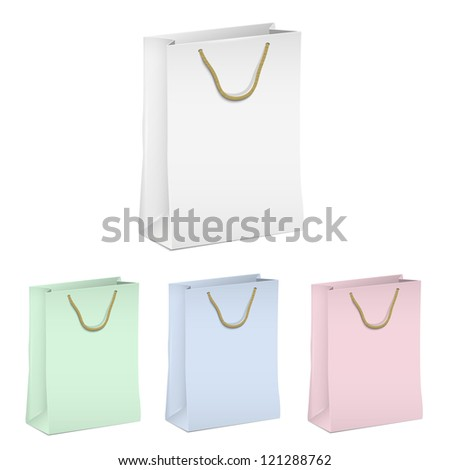 Empty shopping paper bags. Vector set