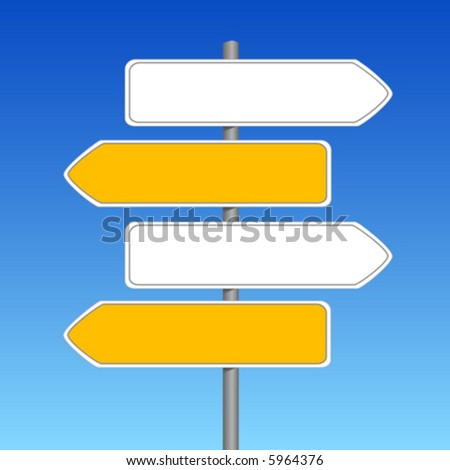 Empty sign white and yellow color on a background of the sky - stock vector