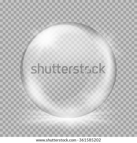 Empty snow globe. Big white transparent glass sphere with glares and, bursts, highlights. Vector illustration with gradients and effects. Winter background for your design and business - stock vector