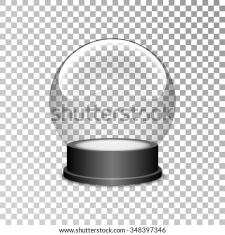 Empty snow globe. Christmas snow globe. Glass sphere. Transparent ball. Realistic vector. 3d. Vector illustration. - stock vector