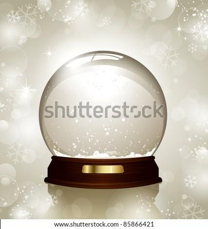empty snowglobe against a bright defocused background with glittering lights and snowflakes - customize by inserting your own object! - stock vector