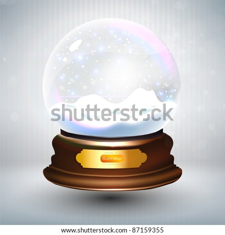 Empty snowglobe against a bright defocused background with glittering lights and snowflakes for Christmas design. Customize by inserting your own object. EPS10 vector. - stock vector