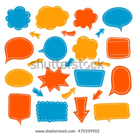Empty speech balloon collection. Set of colored talking cloud and arrows.