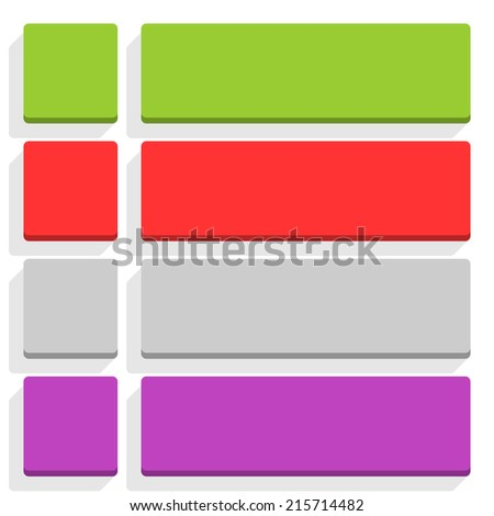 Empty square and rounded rectangle icon with long gray shadow on white background in simple flat style. Set 02 green, red, gray, violet colors button. Vector illustration web design element in 8 eps