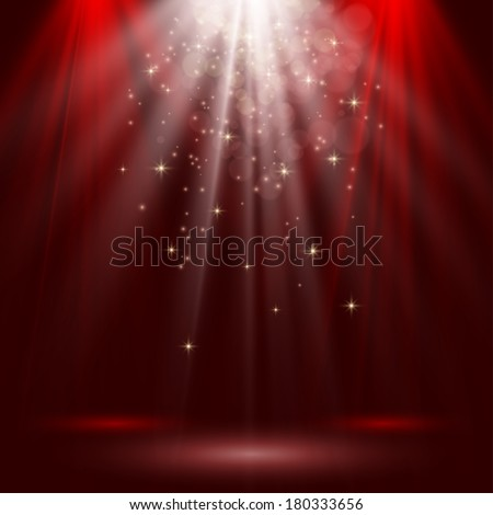 Empty stage lit with lights on red background - stock vector