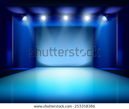 Empty stage. Vector illustration. - stock vector
