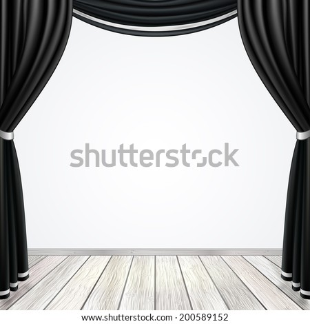 Empty Theatrical Scene Stage Red Curtains Stock Vector ...
