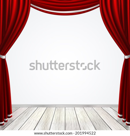 Empty stage with red curtains drapes  and light wooden floor, stock vector graphic illustration - stock vector