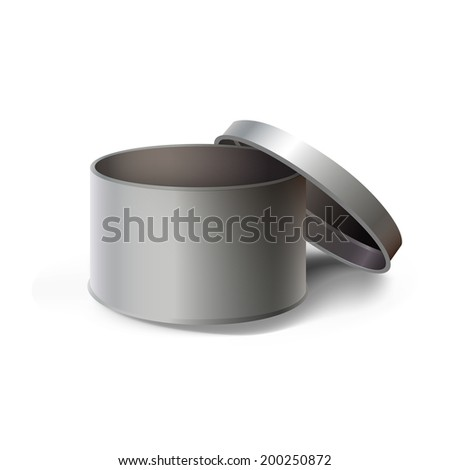 Empty steel box isolated over white