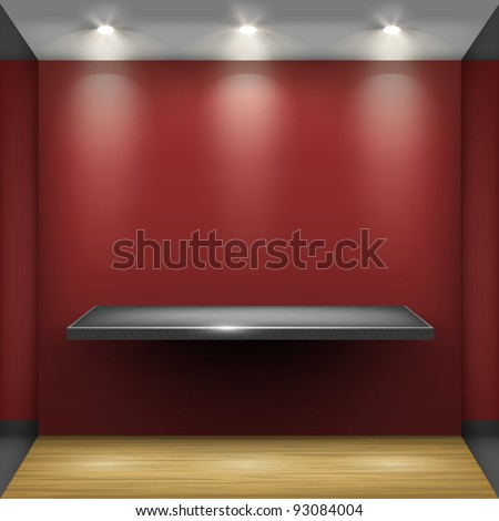 Empty steel shelf in red room, illuminated by searchlights. Part of set. Vector interior. - stock vector
