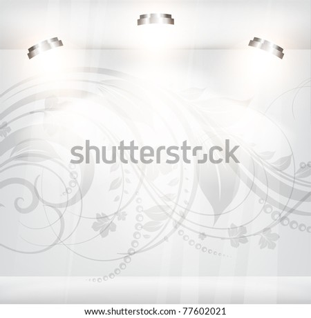 Empty storefront with floral background - stock vector