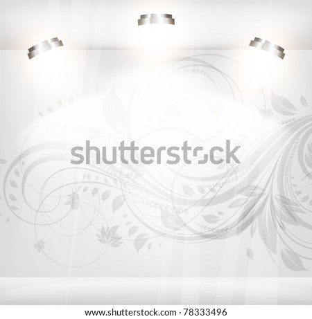 Empty storefront with floral background. eps 10 - stock vector