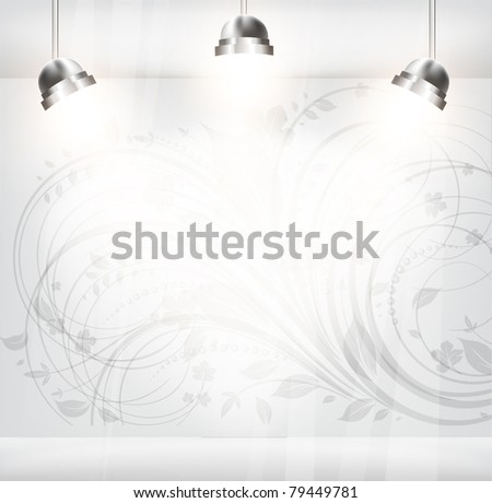 empty storefront with floral flower vintage background. You can change colors for the background, vector eps 10 - stock vector