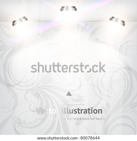 empty storefront with floral seamless background. You can change colors for the background, vector eps 10 - stock vector