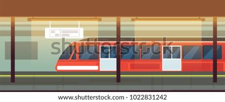 Empty subway station interior with metro train vector illustration. Underground metro train, subway railway transport
