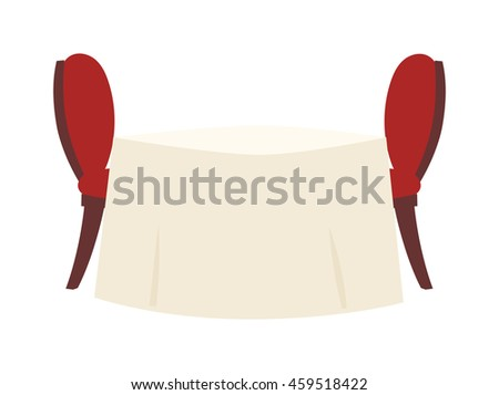 Empty table in restaurant with round tablecloth and red chairs vector. Restaurant table elegance tablecloth bar interior luxury place. Bright banquet restaurant table shiny fine decoration. - stock vector