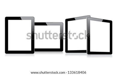 Empty tablets with multiple views eps10 vector - stock vector