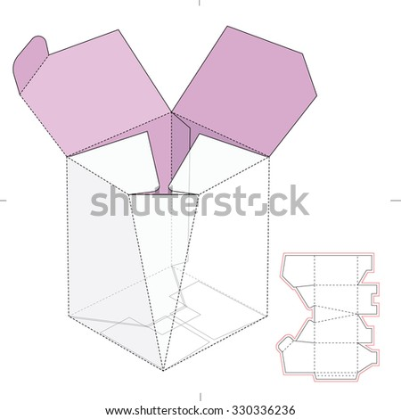 Empty Tapered Edge Box with Die Line Template - stock vector
