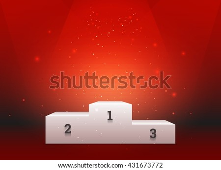 Empty template of white pedestal for winners on bright red background - stock vector