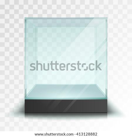 Empty transparent glass cube - stock vector
