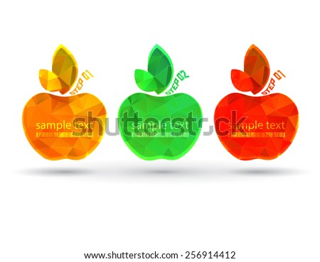 empty vector frame apples with place for text on a black background. Apples with gold silver and bronze with a bar code on a leaves - stock vector