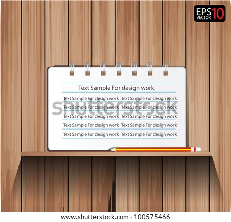 Empty vector wood shelf and Notebook with Pencils - stock vector