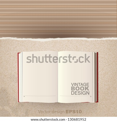 empty vintage book over cardboard texture background - stock vector